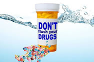 Missouri P2D2 recommends disposing of drugs at a designated collection point.  Medicine collection boxes are available at nine police stations in St. Louis County to provide a convenient, safe place to drop off the unneeded medicines.