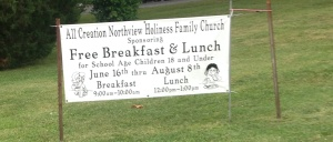 free breakfast and lunch sign